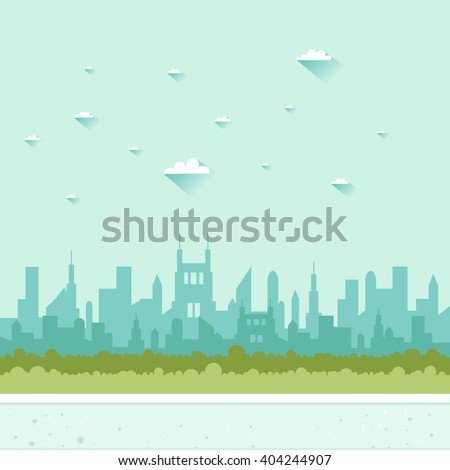 City background. Urban landscape in flat design. Vector colorful illustration - stock vector