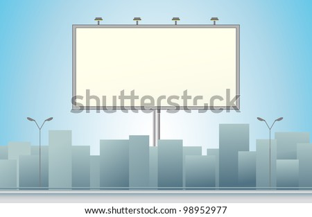 city background with billboard and skyscraper silhouette - stock vector