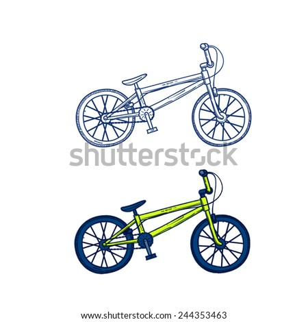 city bike, a doodle sketch funky style vector art illustration. - stock vector