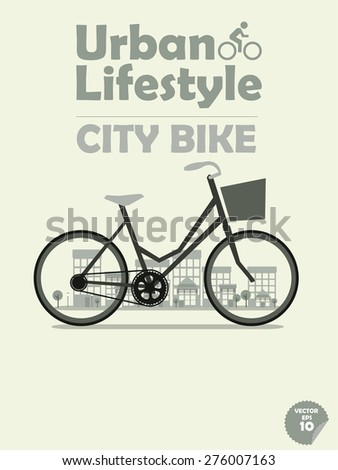 city bike on town background,cycling in town, cycling or commuting in city urban environment, ecological transportation concept,urban transportation lifestyle,city bike poster,city bike wallpaper - stock vector