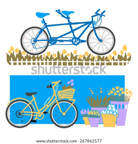 City Bikes. Vector drawing of a bicycle tandem bicycle with a basket of flowers in pots - stock vector