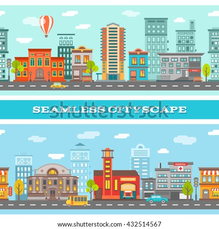 City buildings horizontal banners with colorful houses road transport trees clouds on blue background isolated vector illustration - stock vector