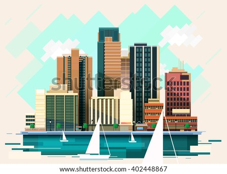 city buildings illustration - stock vector