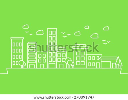 City buildings on green background. Vector - stock vector
