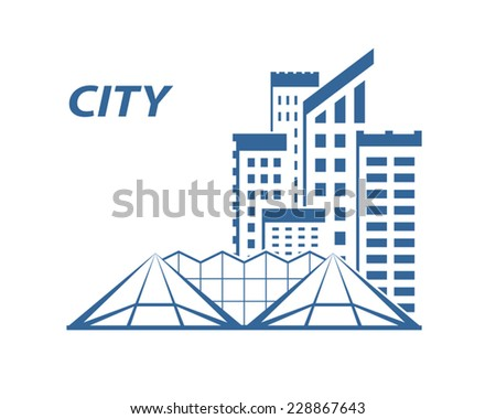 City buildings on white background. Vector illustration - stock vector