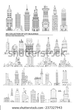 City buildings set, Sketch collection - stock vector