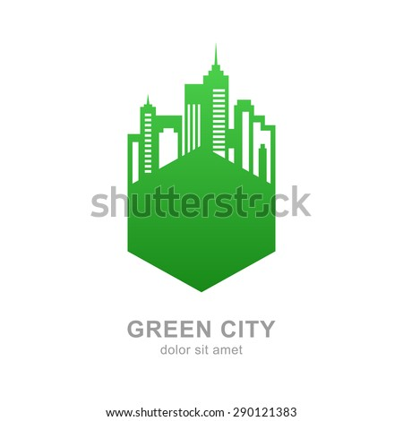 City buildings silhouette. Vector green logo design template. Abstract concept for real estate agency, building company, urban landscape, city life. - stock vector