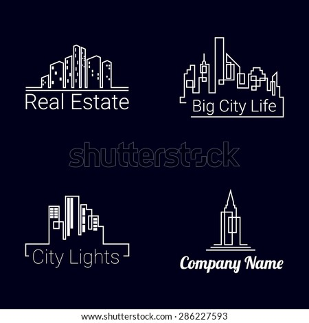 City buildings white logo silhouette icons on black background. Vector - stock vector