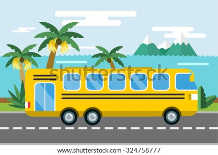 City bus cartoon style vector. Bus icon silhouette. Bus vector cartoon silhouette. Bus mobile fast city transport. Bus fast moving. Yellow bus vector illustration. Vector city bus on beach isolated - stock vector