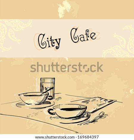 City cafe template (had-drawn high quality) - stock vector