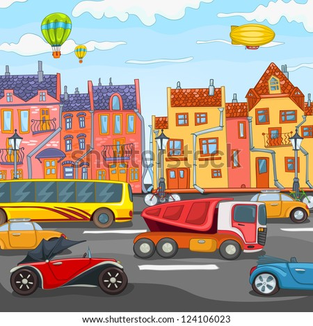 City Cartoon with Traffic. Vector Illustration. EPS 10. - stock vector