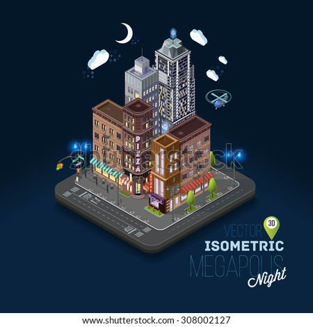 City concept with isometric buildings, shops, offices, cafes, skyscrapers and government buildings. Night city, evening atmosphere, metropolis, urban flat 3d vector illustration. - stock vector