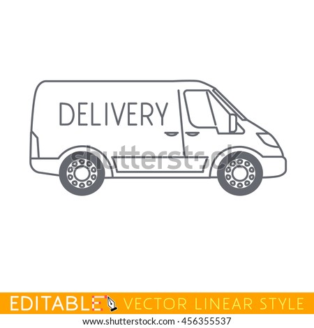 City delivery van. Editable vector icon in linear style. - stock vector
