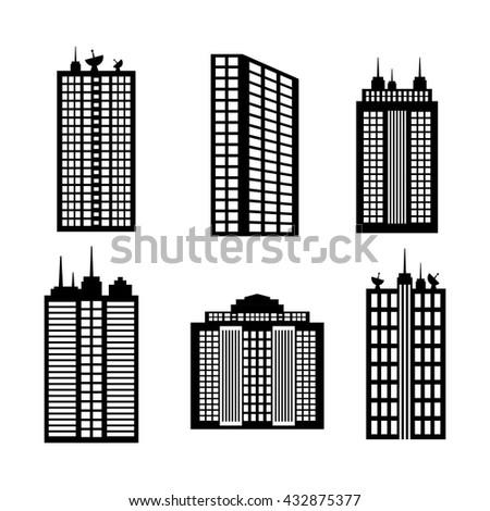 City design. Building icon. Black and white illustration , vector - stock vector