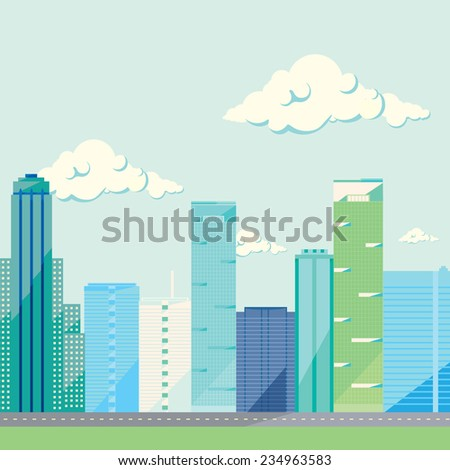 City design collection: many colorful skyscrapers on sky with clouds background.  Vector illustration, flat design, green, blue, and violet icons - stock vector