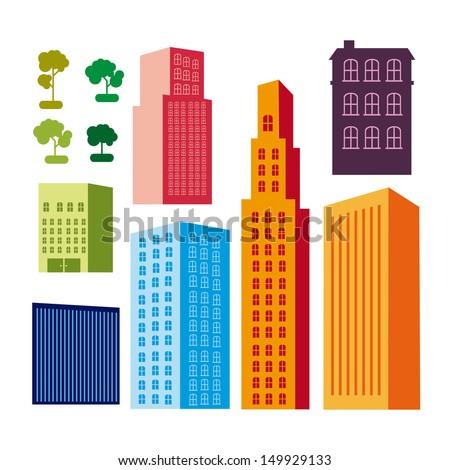 city design over white background vector illustration - stock vector
