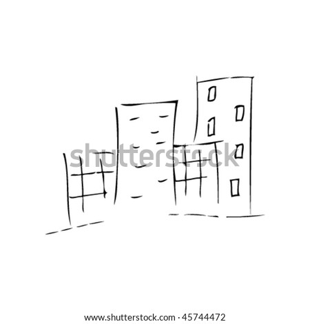 city doodle in kids drawing style - stock vector