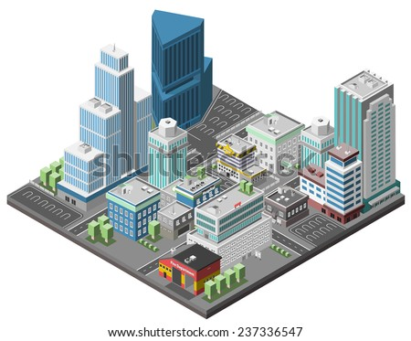 City downtown concept with isometric office skyscrapers and government buildings 3d vector illustration - stock vector