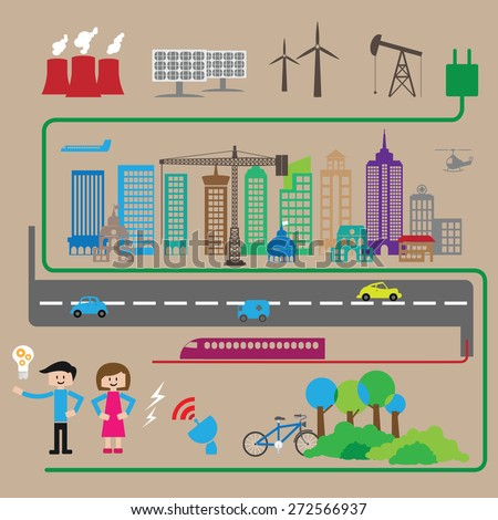City energy and transportation lifestyle - stock vector