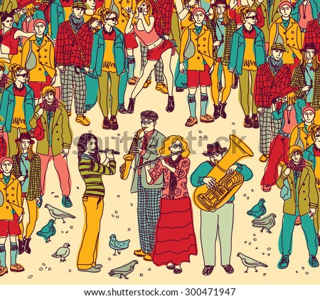 City entertainment. Color vector illustration. EPS8. - stock vector