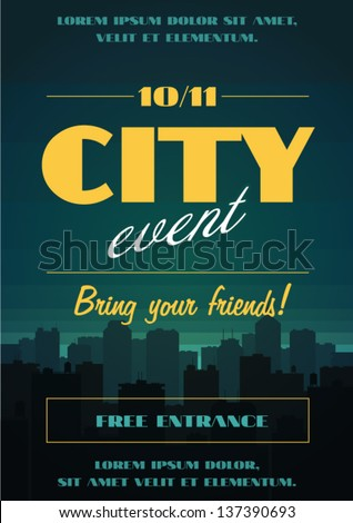 City event poster - stock vector