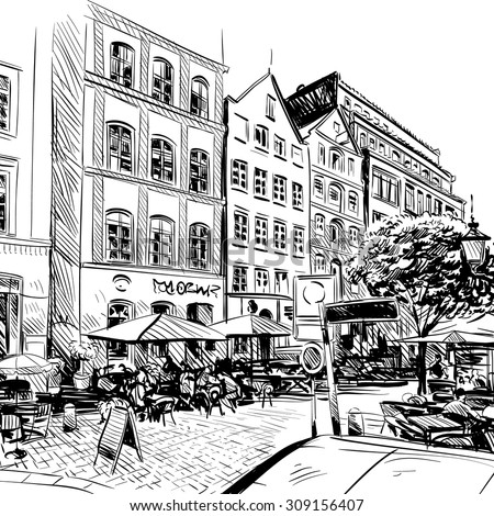City hand drawn. Cafe sketch, vector illustration - stock vector