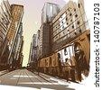 City hand drawn. Vector illustration - stock vector
