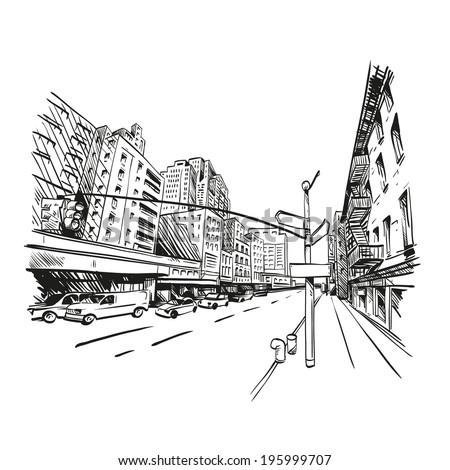 City hand drawn, vector illustration - stock vector