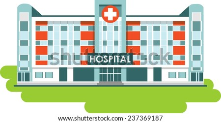 City hospital building in flat style - stock vector