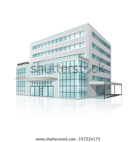 city hospital building in perspective on white background - stock vector