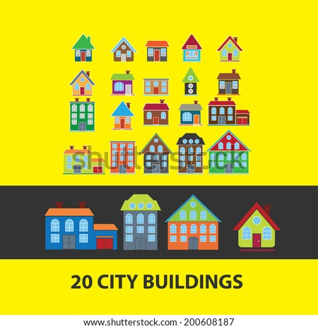 city, house, buildings, country, villa, home icons, signs set, vector - stock vector