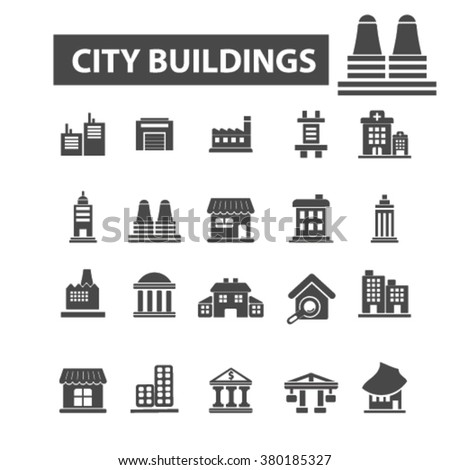 city icons - stock vector