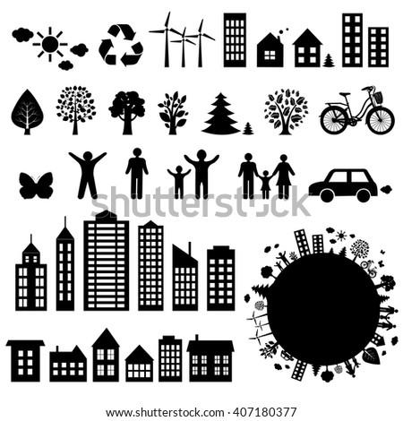 City Icons Big Set, Vector Illustration - stock vector