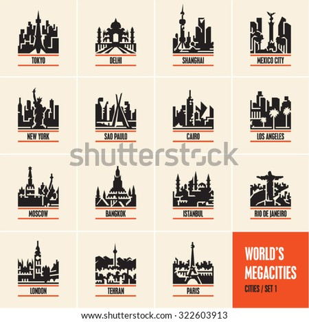 city icons, cityscape, city skyline, city silhouette, cities vector icons set, megacities, - stock vector