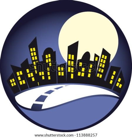 City in the night - stock vector