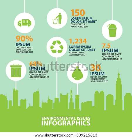 city info graphic,Environmental Protection and ecology vector  - stock vector