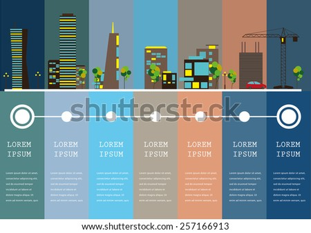 City info-graphic illustration with colorful icons of buildings - stock vector