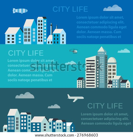 City infographics in a flat style of the houses and buildings - stock vector