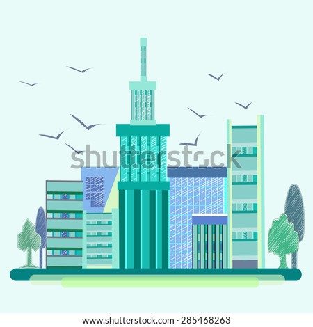 City into a flat style. Blue-green house with beautiful architecture and birds soaring in the sky. On the sides of trees. Vector illustration - stock vector