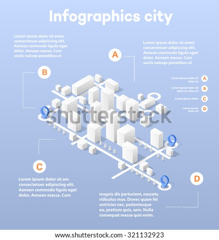 City isometric map, consisting of city skyscrapers block pointer and driving directions - stock vector