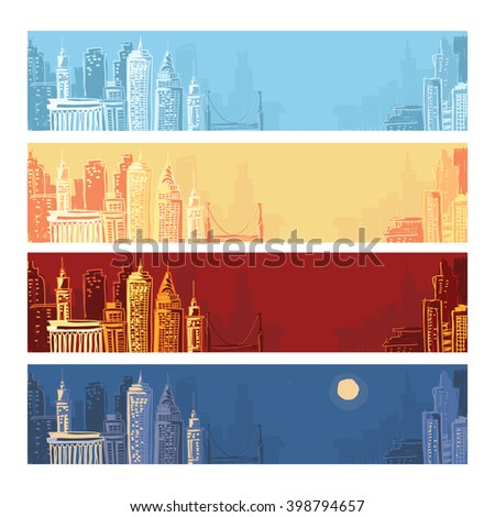 City landscape background set. Vector hand drawn illustrations. - stock vector