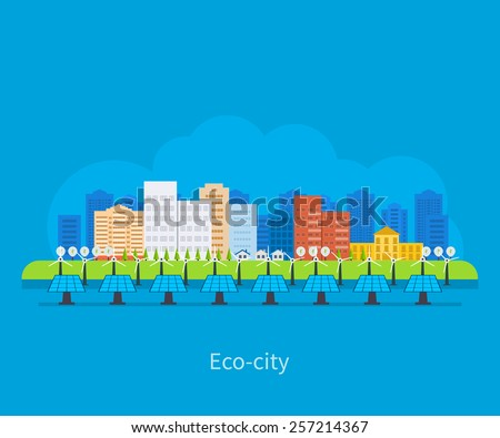 City landscape. Environmentally friendly house. Flat design vector concept illustration with icons of ecology, electricity city, environment, eco friendly energy and green technology.  - stock vector