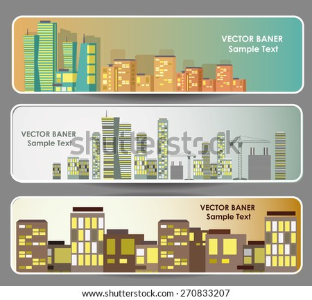 City Landscape web banners set. Vector illustration - stock vector