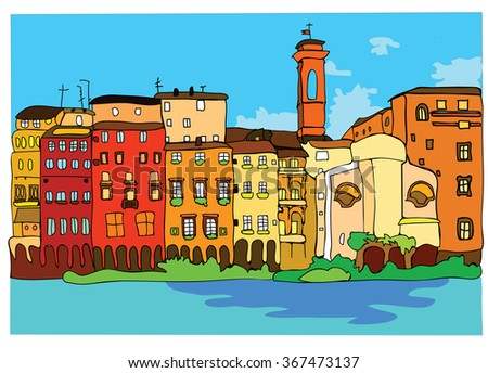 City landscape with houses in different colors - stock vector