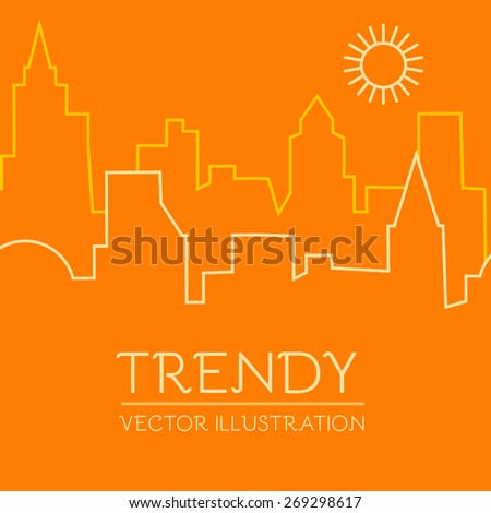 City landscape with sun in line style. Vector illustration - stock vector