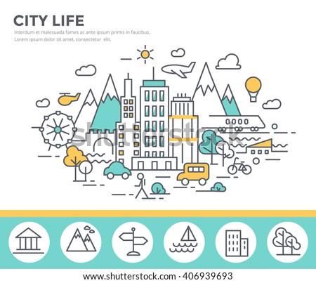 City life concept illustration , thin line, flat design - stock vector