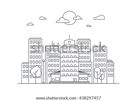 City Life Concept. Town street. Urban Landscape Banner with buildings, trees, shop, stores, sky and sun. Vector - stock vector