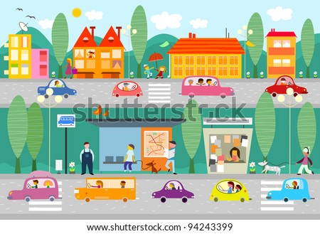 City life scene with bus stop - vector - stock vector