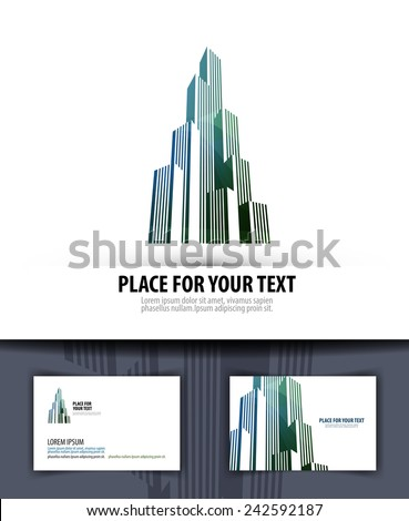 city. logo, icon, emblem, template, business card - stock vector