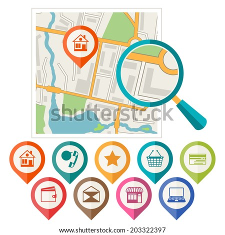 City map abstract background with set of various markers. - stock vector